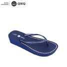 QWQ創意鞋-3CM 寶石藍 夾腳人字拖鞋(厚底系列)