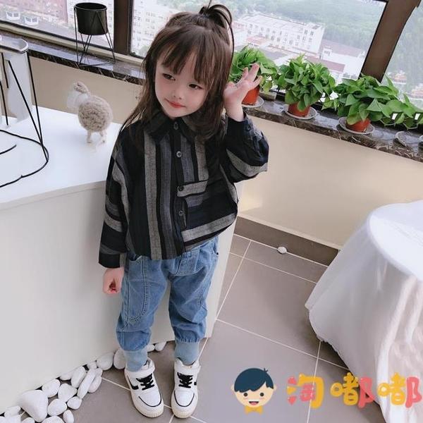 中小童兒童蝙蝠袖襯衫男女童寶寶舒適寬松條紋上衣【淘嘟嘟】