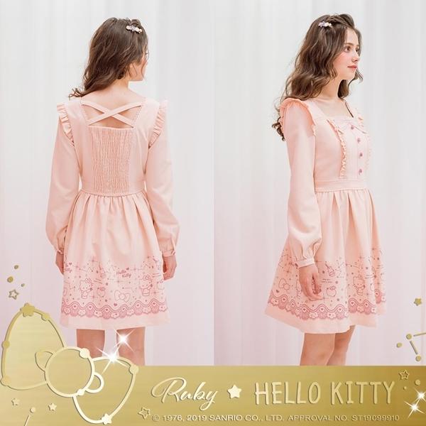 洋裝 Hello Kitty x Ruby 聯名款.荷葉後交叉長袖洋裝-Ruby s 露比午茶