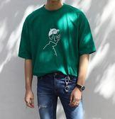 FINDSENSE MD 韓國 時尚潮 男 休閒寬鬆 五分袖 卡通人物圖案 短袖T恤 特色短T 學生T