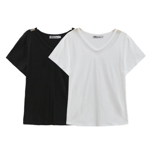 中大尺碼 網紗拼接V領短袖上衣(棉衫/T恤).共2色 -適XL~5L《 51525 》CC-GIRL 新品