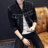 中大尺碼 牛仔薄外套黑色百搭男韓版修身褂子學生寬鬆青少年潮流夾克 mc10202『男人範』