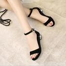 2021新款一字帶扣粗跟韓版女鞋平跟黑色涼鞋女夏平底中跟低跟百搭 美眉新品