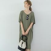 洋裝休閒裙短袖新款寬鬆大碼舒適休閒純色連身裙長款女士蝙蝠袖T卹GB108C-7770.胖胖唯依