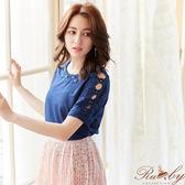 上衣 素色釘珠鉤花短袖上衣-深藍色-Ruby s 露比午茶