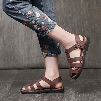 真皮手工涼鞋 包頭羅馬鞋 皮編織涼鞋/2色-夢想家-標準碼-0401