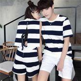 情侶套裝 氣質情侶裝短袖T恤男夏季ins半袖韓版潮流港風套裝LJ10140『miss洛羽』