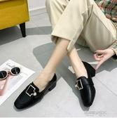 單鞋女春款百搭韓版粗跟小皮鞋女中跟金屬樂福鞋方頭穆勒鞋 凱斯盾