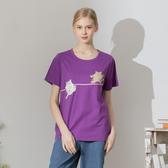 【中大尺碼】雙貓玩繩索貼布繡T
