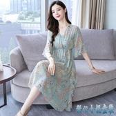 碎花洋裝雪紡連身裙2020新款夏裝流行顯瘦氣質大碼仙女小清新裙子 DR34958【甜心小妮童裝】
