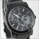 【萬年鐘錶】SIGMA 全黑灰三眼時尚腕錶 8807M-B01