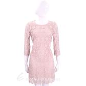 ERMANNO SCERVINO 粉色縷空織花七分袖蕾絲洋裝 1710546-05