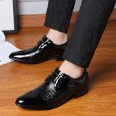 夏季男士皮鞋英倫尖頭鞋韓版男鞋商務黑色鞋休閒正裝鞋子黑皮鞋秋  酷男精品館