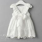 女童洋裝 甜美氣質緹花背部V領蝴蝶結綁帶連身裙 QB allshine