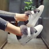 35/灰色 毛毛鞋平底單鞋女新款百搭韓版秋季女鞋魔術貼休閒鞋小白鞋潮B0055