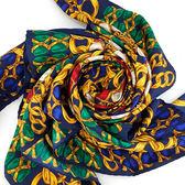 【奢華時尚】秒殺推薦!CHANEL 藍綠紅三色金鍊珠寶印花98公分超大披肩絲巾(八五成新)#23408