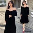 (現貨+預購 FUWAFUWA)--加大尺碼一字領蝴蝶結黑裙禮服長袖洋裝