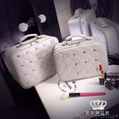 化妝箱 女小號便攜韓國簡約大容量帶鏡收納包化妝箱手提
