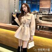流行大衣韓版秋季新款復古洋氣收腰修身中長款毛呢外套女學生 安妮塔小舖