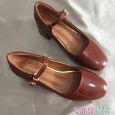 瑪麗珍鞋 lolita漆皮瑪麗珍鞋女復古新款壹字扣單鞋粗跟方頭中跟仙女鞋 愛麗絲