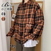 情侶襯衫 格紋印字大口袋落肩寬鬆長襯衫【NQ970018】