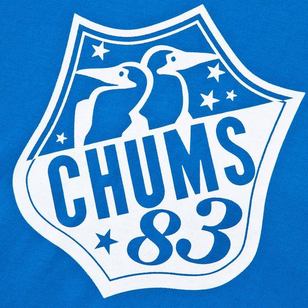 CHUMS 日本 男 皇室盾牌旗幟 吸濕快排 短袖T恤 藍 CH011117A001