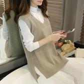 春新款韓版大碼中長款寬鬆V領針織衫毛衣女背心打底衫外套『櫻花小屋』