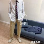 LES帥T林彎彎學院風日系INS條紋刺繡襯衫領帶韓國帥氣BF風男女『美優小屋』