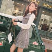 VK旗艦店 韓系毛呢格紋娃娃領襯衫拼接長袖洋裝