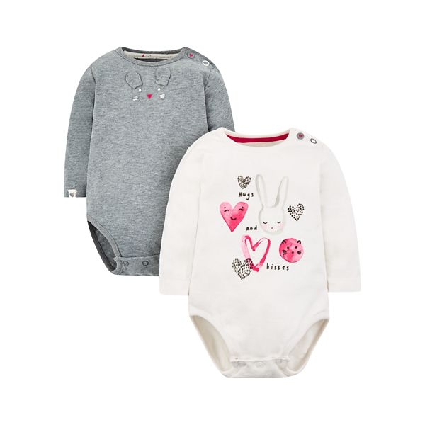 mothercare 白色兔兔2入包臀衣-時尚兔兔(M0QD837)03M~24M