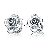 耳環 925純銀鑲鑽銀飾-玫瑰花設計生日情人節禮物女飾品2色73dy49[時尚巴黎]