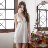 【性感寶盒】★大尺碼Annabery繞頸荷葉領雪白柔緞睡衣★奶白┌NY14020066