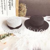 黑白平頂大檐草帽女夏天沙灘帽海邊度假英倫禮帽遮陽防曬出游潮帽  米蘭shoe遮陽帽