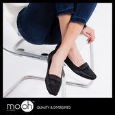方頭平底鞋  真皮 復古 綢緞面 氣質 方頭 鈕扣 平底鞋 大尺碼 方頭娃娃鞋 mo.oh(歐美鞋款)