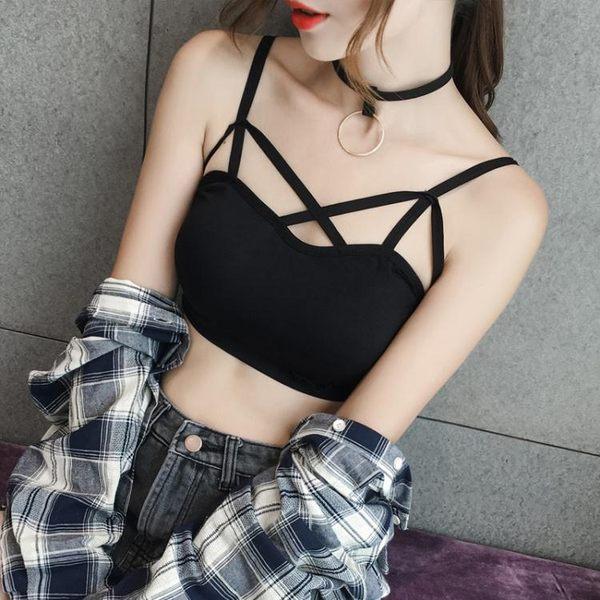錐點歐美夏季胸前交叉短款露臍吊帶性感小背心打底抹胸修身女外穿