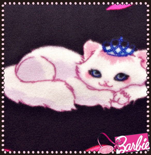 【Barbie】波斯公主貓-雪芙絨加大雙人床包被套四件組《Princess Persian《星空黑》》