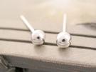 ☆§海洋盒子§☆ 3mm~立體亮面小圓球耳環《925純銀耳環》 銀飾 (可戴耳垂.耳骨)