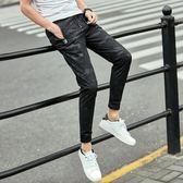 【熊貓】迷彩九分褲修身小腳褲薄款休閒褲