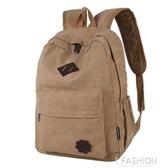 新款帆布雙肩包休閒旅行背包男士運動韓版潮流大高中學生書包
