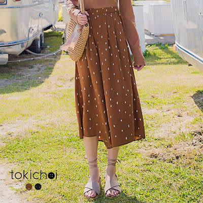 東京著衣-清新水墨點點長寬褲-S.M(180278)