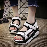 羅馬涼鞋厚底運動涼鞋氣墊高跟涼鞋學院風亮皮拖鞋3色可選 35-39