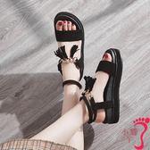 網紅羅馬涼鞋女ins潮新款學生百搭一字帶配裙的平底夏季鞋子