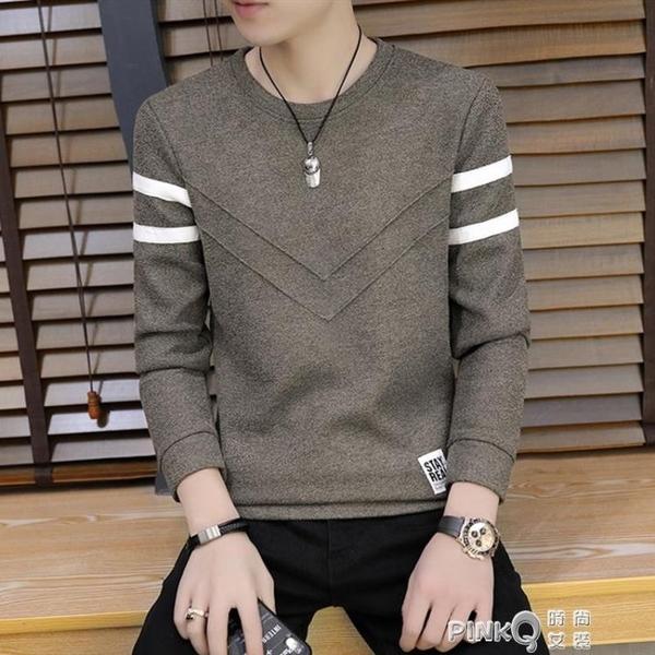 男士長袖T恤圓領打底衫男裝2020春季新款潮流韓版修身衛生衣上衣服  (pink Q 時尚女裝)