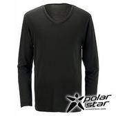 PolarStar 男 V領吸濕發熱保暖衣 『黑』 P15249