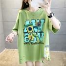 短袖上衣7839#(32棉) 韓版春夏新款貼布中長款短袖T恤女NE416 韓依紡
