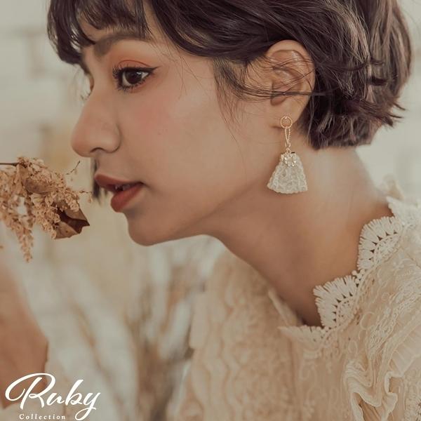 耳環 韓國直送‧螺紋雙環蕾絲流蘇耳環-Ruby s 露比午茶