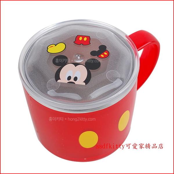 asdfkitty可愛家☆迪士尼米奇紅色有蓋防燙304不鏽鋼杯/學習杯/馬克杯-底部防滑-韓國製