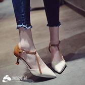 高跟涼鞋 高跟鞋2018春季新款尖頭單鞋女夏通勤一字帶工作細跟職業女士鞋子 潮流小鋪
