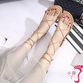 羅馬涼鞋 綁帶涼鞋 細帶涼鞋 韓版交叉綁帶涼鞋女夏平底百搭系帶羅馬旅游度假沙灘鞋