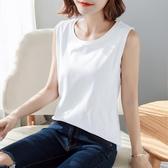 純棉無袖打底背心女內搭大碼胖MM寬鬆吊帶T恤白色坎肩夏外穿韓版 浪漫西街